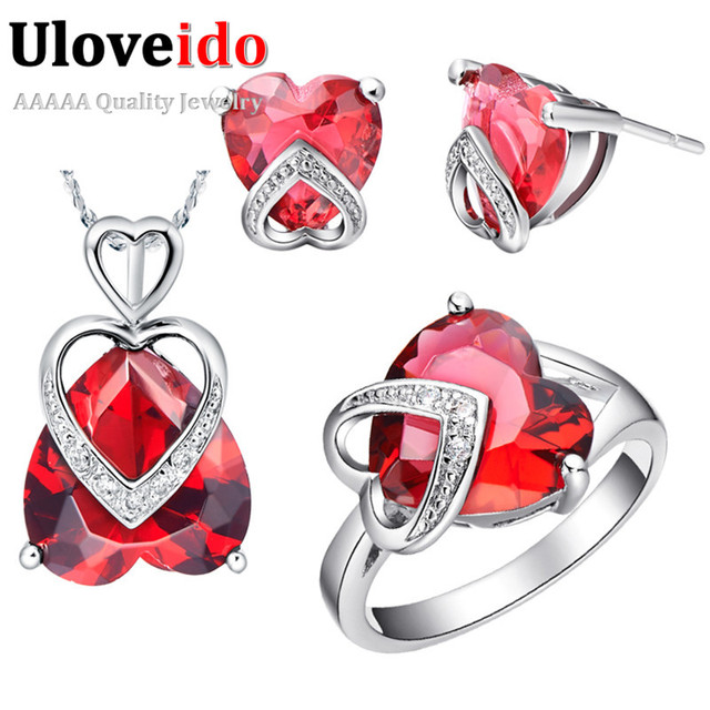 2016 Heart Jewelry Wedding Jewelry Set Pendant Earrings Ring Bridal Jewelry Sets Silver Color Women Accessories Suspension T087