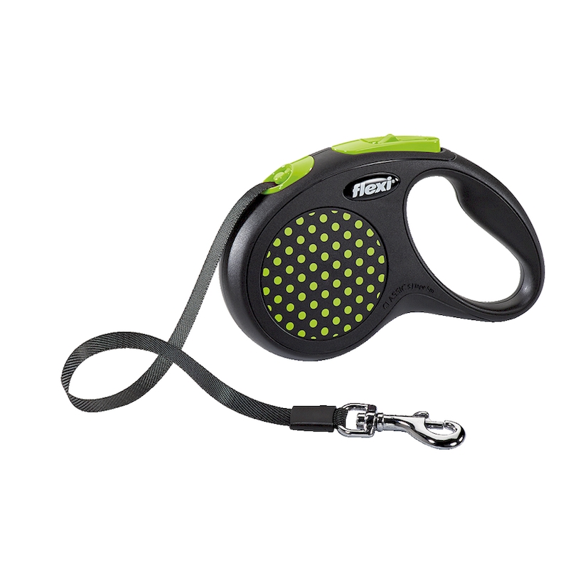 Lead tape measure Flexi for dogs Design S (up to 15 kg), tape, 5 m, black/green.  Dog Accessories ty 102 dog footprint style wireless bluetooth remote control self timer for smartphones green