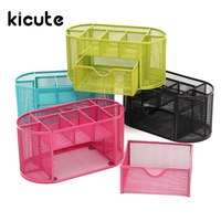 Kicute 1pcs Desk Organizer Mesh Metal Desktop Office Pen Pencil Holder Storage 9 Compartment Stationery Container