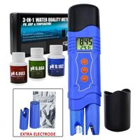 3 in 1 Pen Type Combo Meter ORP Redox PH Temperature Tester with Automatic Temperature Compensation and Optional Electrode