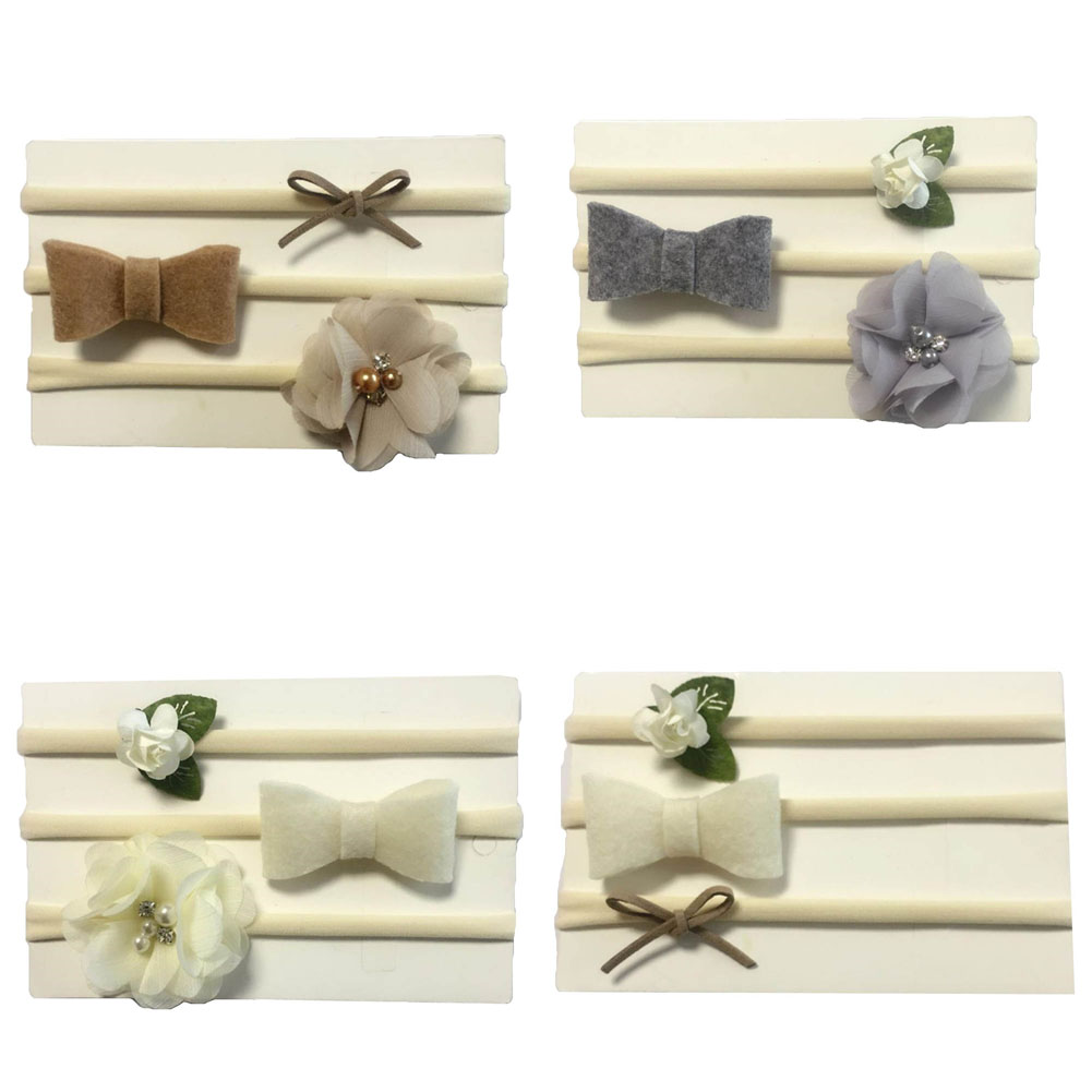 1Set Kids Hair Bands Hair Accessories Little Girls Cute Flower Hairband With Flower Bow Tie Newborn Headband naturalwell flower headband bandage lace hairband girls hairpiece child hair accessory baby hairband newborn shower gift hb090
