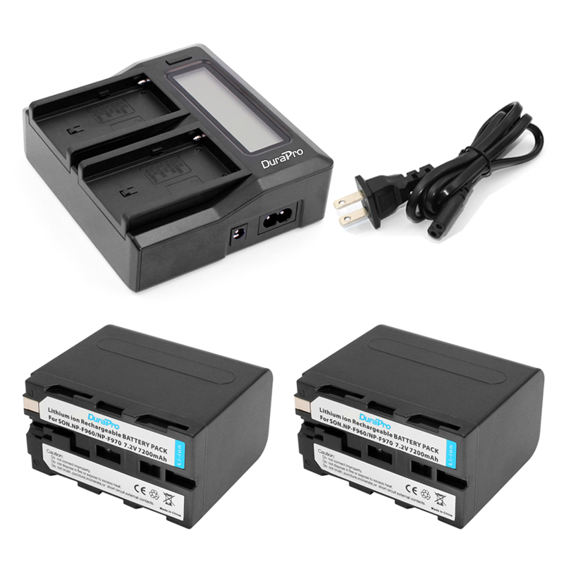Durapro 2 Pcs 7200mAh NP-F960 NP-F970 Battery + LCD Fast Dual Charger For Sony NP-F570 NP-F770 NP -F960 F970
