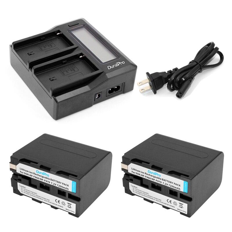 Prix pour Durapro 2 pcs 7200 mah np-f960 np-f970 batterie + lcd rapide double chargeur pour sony np-f570 np-f770 np-f960 f970