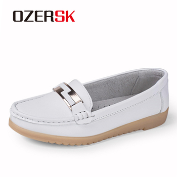 OZERSK Fashion Casual Shoes Slip On Woman Loafers Genuine Leather Female Flats Shoes Crystal Ladies