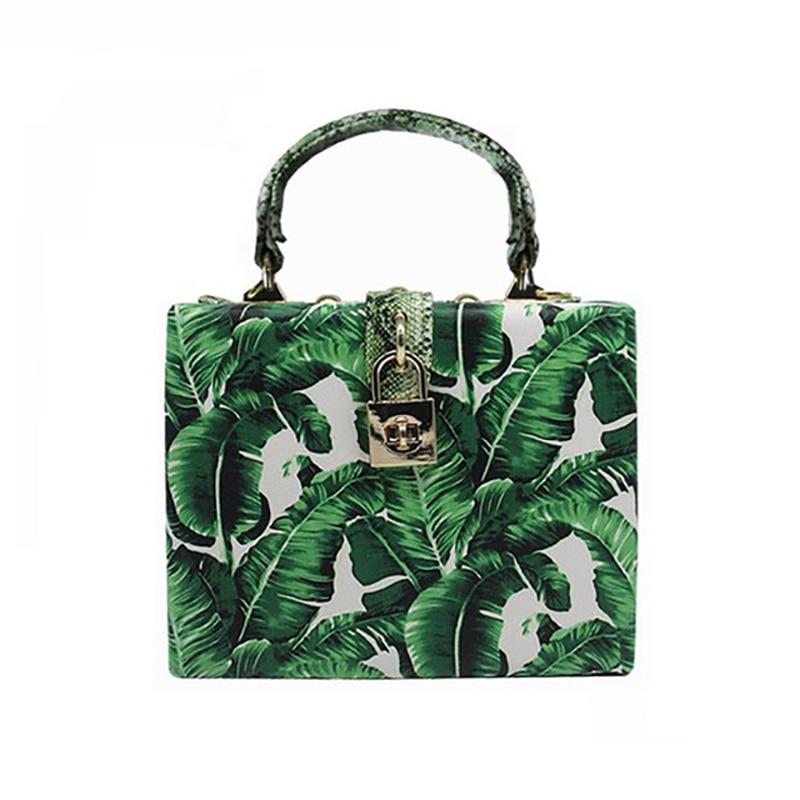 Women Box Bag Banana leaves Print Clutch messenger bags Elegant Shoulder diagonal Brand Banquet Handbag 2018 Spring Summer