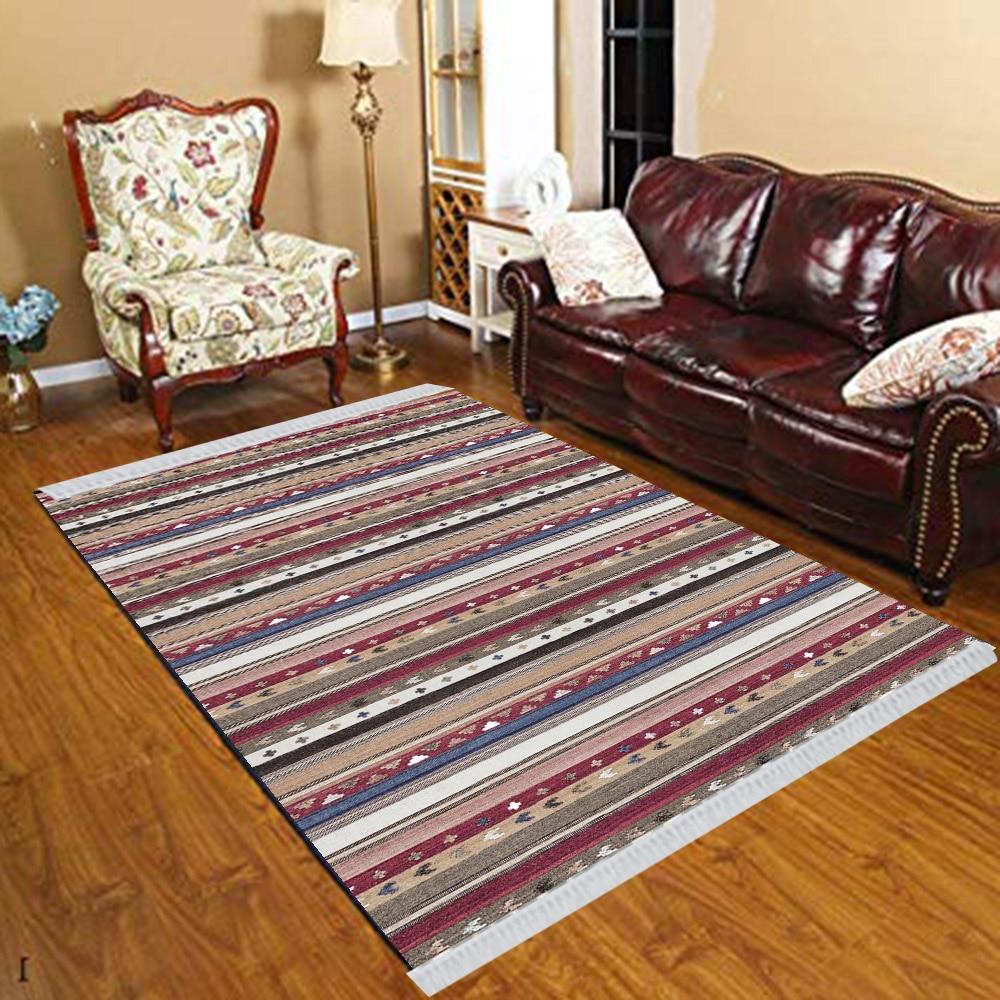Else Red Brown Blue Lines Stripes Turkish Vintage 3d Print Anti Slip Kilim Washable Decorative Kilim Tassel Rug Bohemian Carpet