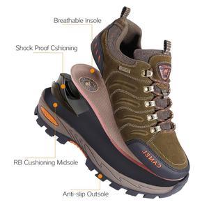 Image 3 - Deve erkekler kadınlar yürüyüş ayakkabıları hakiki deri dayanıklı kaymaz sıcak nefes açık dağ tırmanışı trekking ayakkabıları