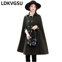Women Jacket 2018 New Fashion Warm Woolen Cloak Army Green Autumn Winter Loose Cape Wool Coat Poncho Cardigan Cloak Female Is273