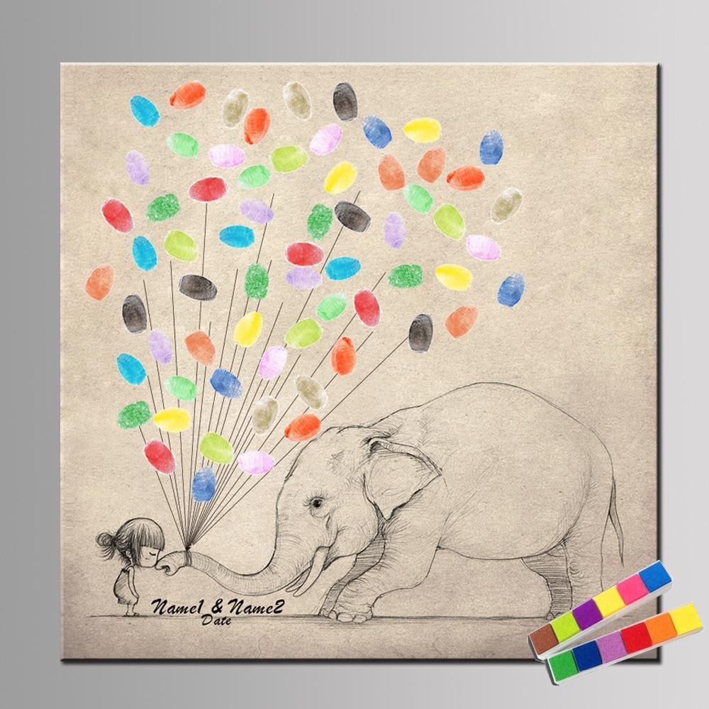 Personalize Wedding Fingerprint Tree Canvas Painting DIY