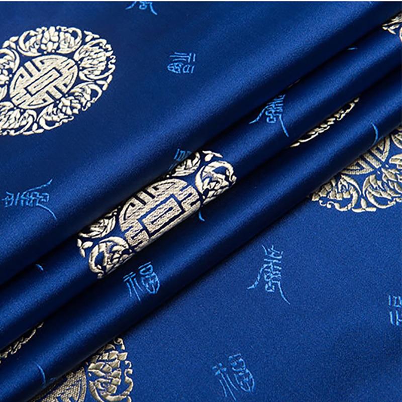 new arrival brocade blue longevity pattern fabric for patchwork felt tissue telas bed sheet dress children cloth 100x75cm