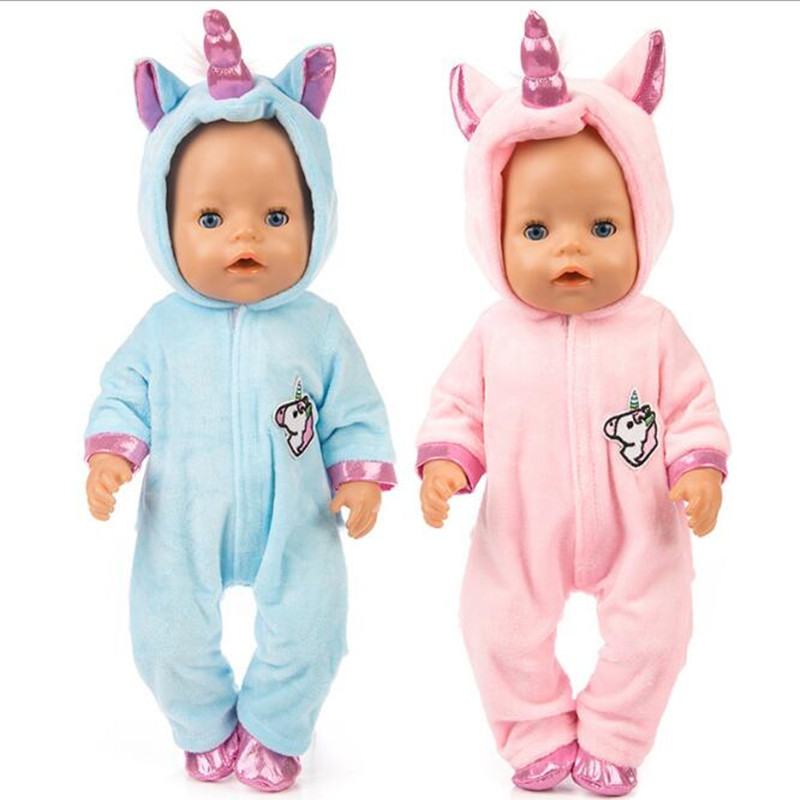 Fit 18 Inch 40cm-43cmDoll Clothes Born New Baby Doll Pink Blue Unicorn Mermaid Camel Clothes Accessories For Baby Birthday Gift