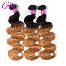 Tissage en lot brésilien 100% naturel Remy Body Wave-Celie Hair, ombré 1B 27, Extension capillaire, offre