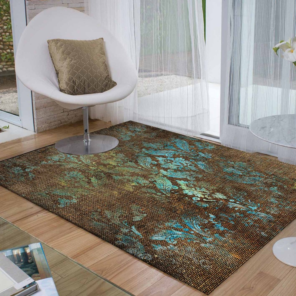Else Brown Blue Aging Flowers Retro Floral 3d Print Non Slip Microfiber Living Room Decorative Modern Washable Area Rug Mat