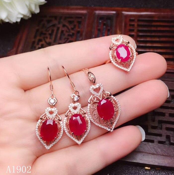 KJJEAXCMY boutique juwelen 925 sterling silber eingelegte natürliche rubin edelstein weiblichen ring anhänger halskette ohrringe luxus unterstützung Schmucksets    - AliExpress