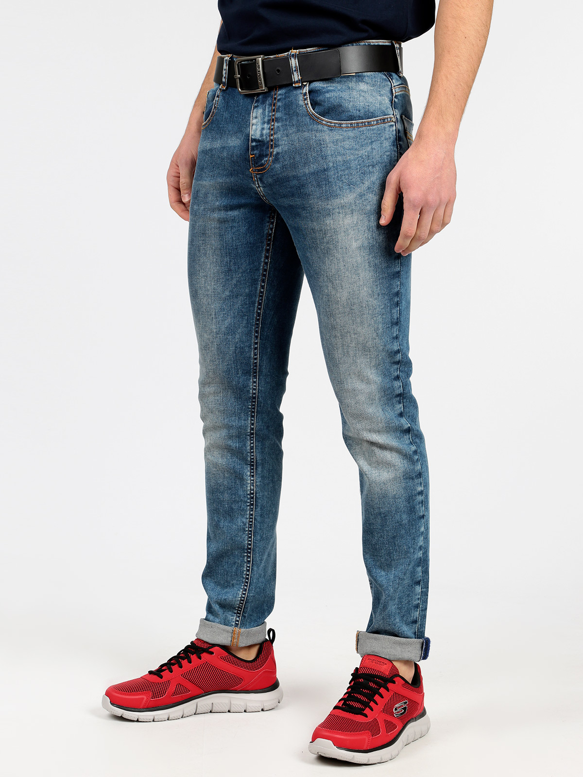 5 Pockets Effect Washed Jeans