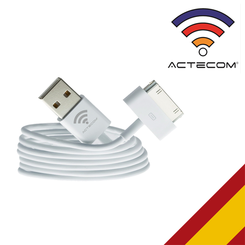 ACTECOM® CABLE USB 1 METRO CARGA Y DATOS PARA IPHONE 4 4S IPAD 2 NEW IPAD 3