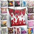 Funda de almohada estampada 3D para el hogar con flores rosas de colores funda de almohada cuadrada con cremallera oculta-45 45x45 cm