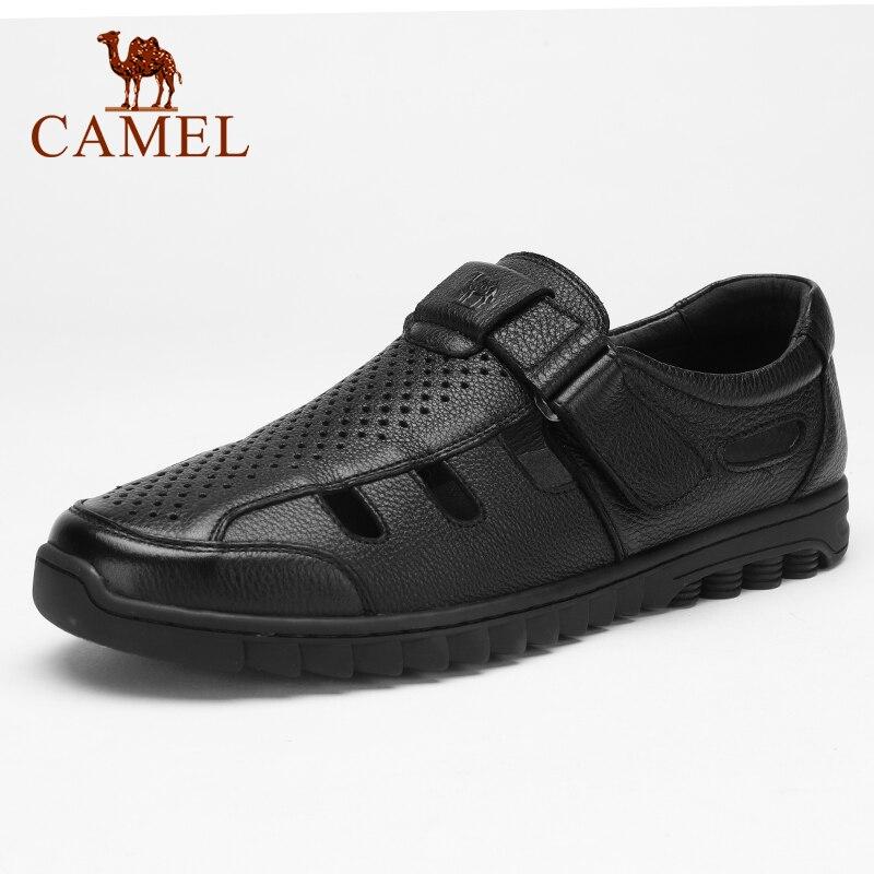 CAMEL męskie sandały letnie Hollow męskie buty ze skóry naturalnej oddychające lekkie w średnim wieku biznes antypoślizgowe buty w stylu casual w Sandały męskie od Buty na  Grupa 1