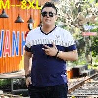 10XL 8XL 6XL 5XL 4XL 2018 Brand Fashion Casual Men T Shirt Summer Short Sleeve V