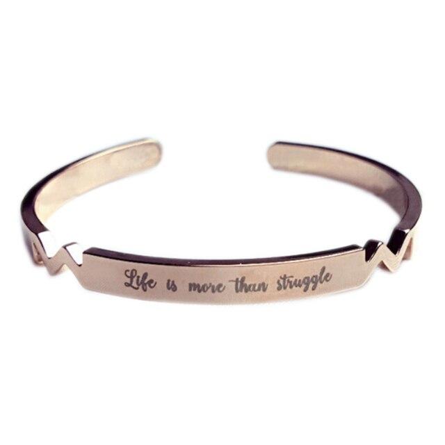 Bracelets gravé énergie Positive lettre hommes Couple Bracelet \u0026 Bracelet  Cadeau Ouverture Titane Bracelet En Acier