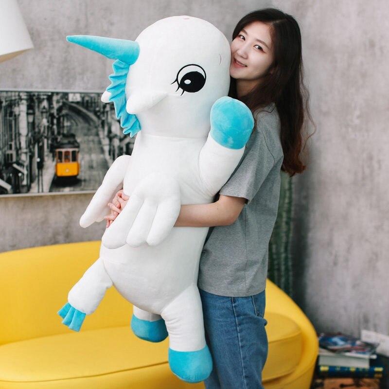 1 pc 85 cm mignon licorne en peluche animaux oreiller peluche douce licorne coussin poupée jouets cadeaux d'anniversaire filles enfants jouets