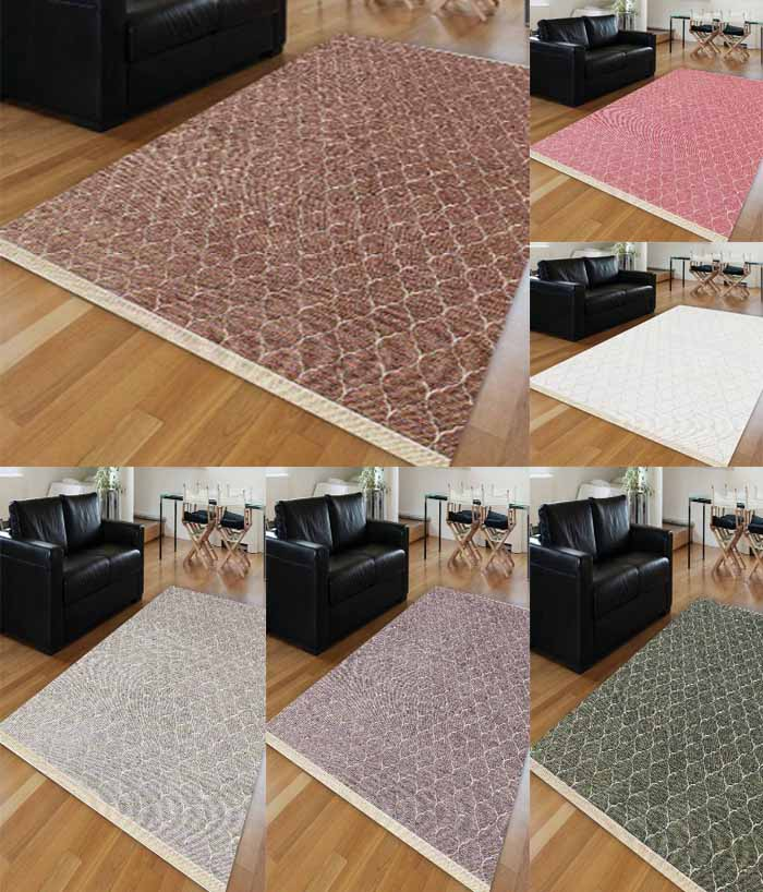 Else 6 Color Ogee Spade Brown Green Gray Purple White Pink Anti Slip Kilim Washable Decorative Plain Paint Woven Carpet Rug