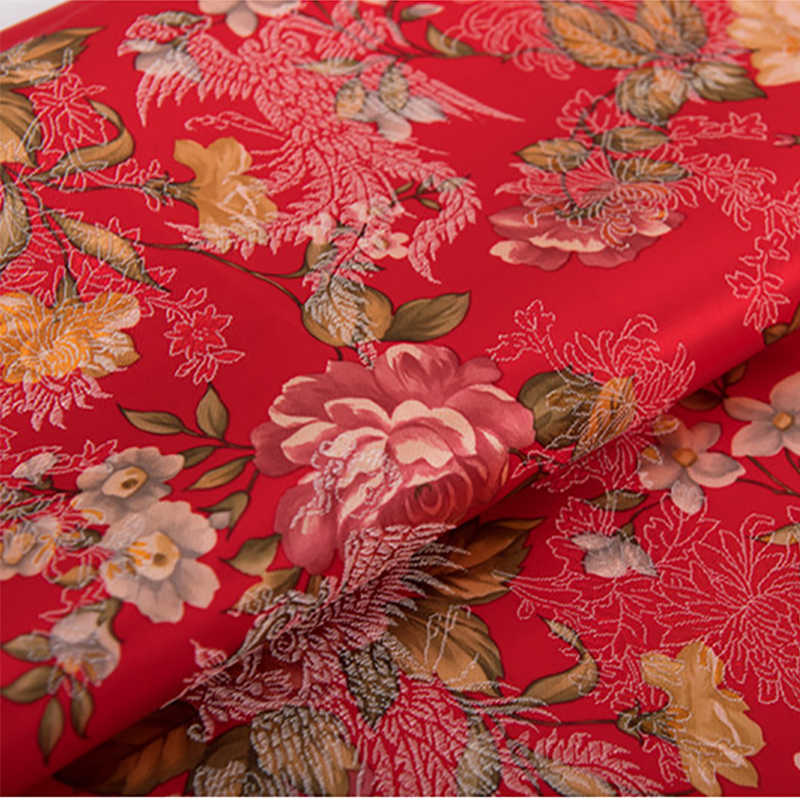 new arrival polyester brocade red peony flower fabric for felt patchwork tissue telas dress bed sheet children cloth 100x75cm
