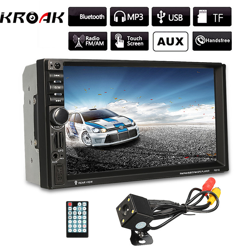 Bluetooth Car MP5 Player Android IOS HD 2 Din 7 Inch Touch Screen With GPS Navigation Rear View Mirror Camera Auto FM Radio hot 7020g car bluetooth audio stereo mp5 player with rearview camera 7 inch touch screen gps navigation fm function with camera