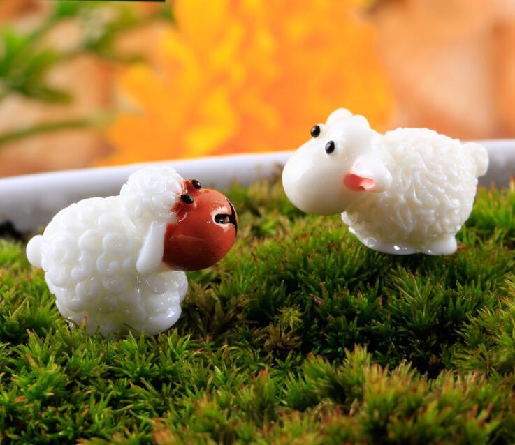 1 Pair Cute Sheep Miniature Garden Ornaments Micro Landscape Toys Small Decoration Cake Decor DIY Mini Fairy Tale World CJ119