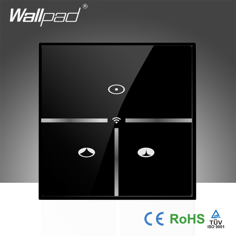 High-End Wallpad Black Glass UK 110~250V 3 Gang Wireless Wifi Smart Remote Curtain Control WIFI Wall Switch, Free Shipping 118 us norm 1 gang crystal glass black wifi light switch wallpad wireless remote control wall touch light switch free shipping
