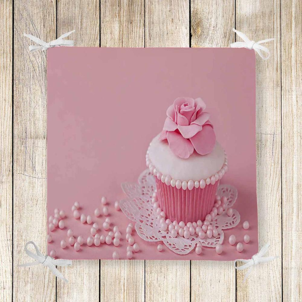 Else Pink Candy Cup Cakes Sweet 3d Print Chair Pad Seat Cushion Soft Memory Foam Full Lenght Ties Non Slip Washable Zipper