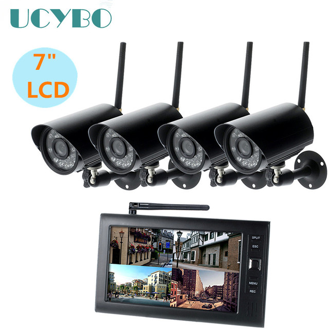 "7"" lcd cctv security system wifi wireless camera video surveillance set motion detection outdoor IR cam dvr kit sd w/ recording"