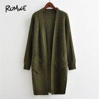 ROMWE Green Space Dye Drop Shoulder Slit Side Cardigan Women Casual Spring Fall Cocoon Long Sleeve Split Pocket Longline Sweater