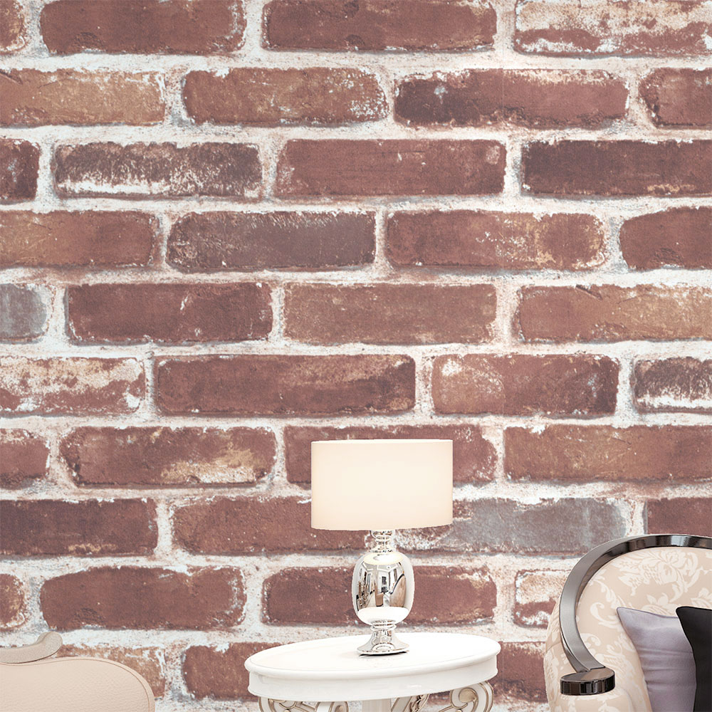 HaokHome Vintage Faux Brick 3D Vinyl Wallpaper Rolls Tan/Brown/Wheat Rust Brick Stacked Paper Murals Home Kitchen Bathroom Decor wallpapers youman 3d brick wallpaper wall coverings brick wallpaper bedroom 3d wall vinyl desktop backgrounds home decor art