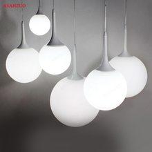 Modern Simple Milk Ball Glass Shade Pendant Lights For Dining Room Bar Restaurant Decorative Hanging Pendant Lamp Fixtures недорого