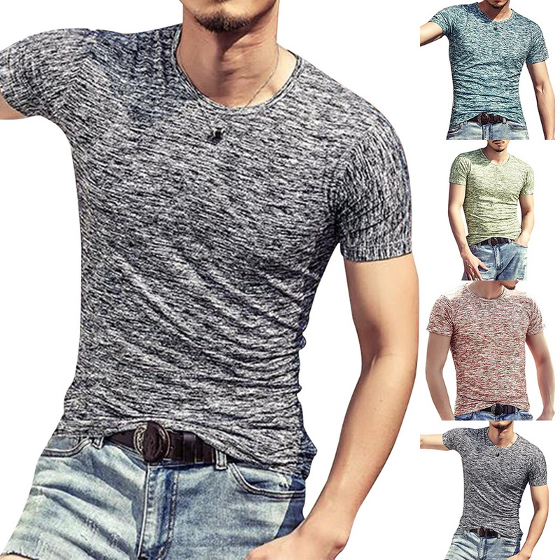 Mens Clothing Tshirt Tees Short-Sleeve Sportwear Running-Top O-Neck Fitness Cotton Casual