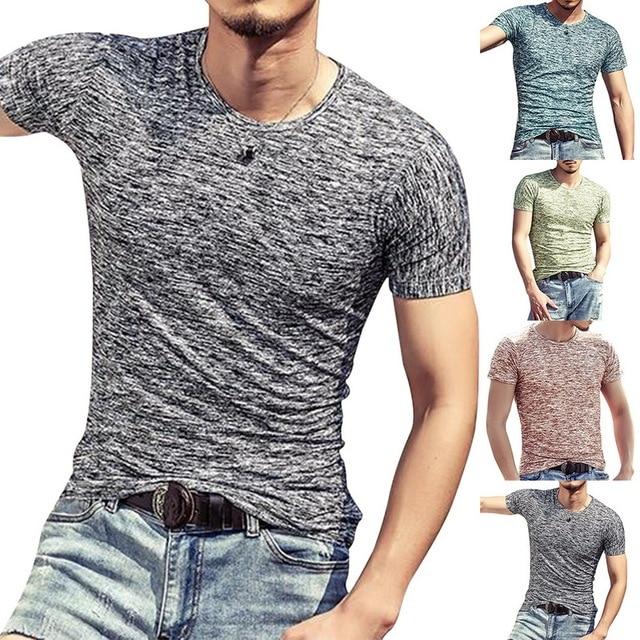 אופנה גברים T חולצות קיץ ספורט ריצה למעלה Tees Mens בגדים קצר שרוול מקרית O צוואר כותנה כושר Tshirt ספורטוויר