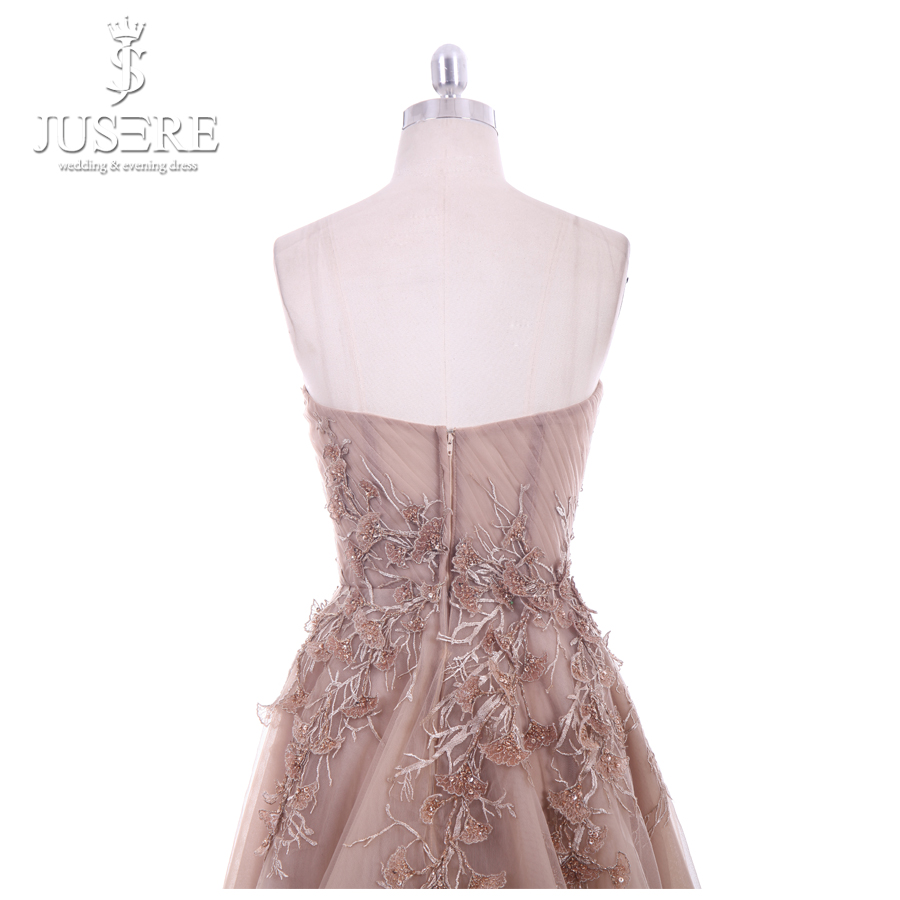 Image 5 - Jusere 2018 New A Line Sweetheart Applique Top Sweep Train Zipper up Back Illusion Long Prom Dress Lace Appliques Evening GownsProm Dresses   -
