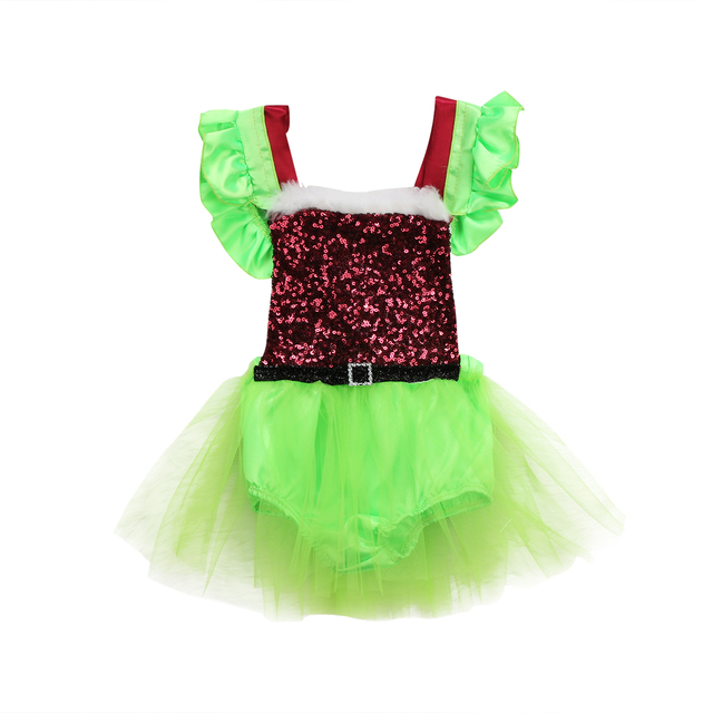 c8e250f89 2colors XMAS Princess Dress Santa Claus Party Tutu Romper Dress ...