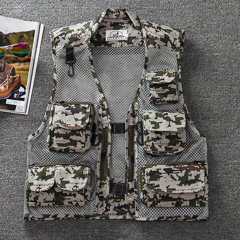 88cdb1c31205b City Commuter Fishing Vests Camouflage Military Tactical Vests Mens  Sleeveless Fishing Uniform Hunting Travel Coat Breathable