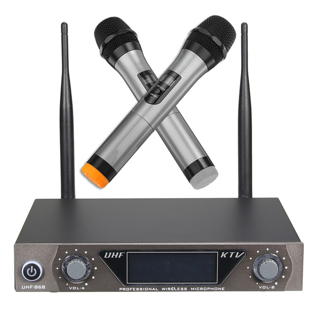Professional UHF Wireless Microphone System With 2 Handheld Mic Dual Channel UHF Transmitter Microphone Systerm For Karaoke free shipping uhf professional s24 b 58 wireless microphone cordless karaoke system with handheld transmitter band r5 800 820mhz
