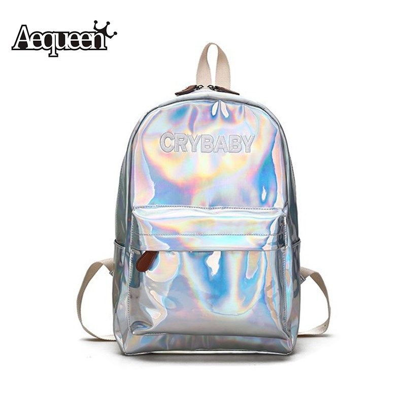 AEQUEEN Holographic Laser Silver Backpack Women Shoulder Bag Laser Hologram Schoolbags Student Rucksack Casual Pack Satchel
