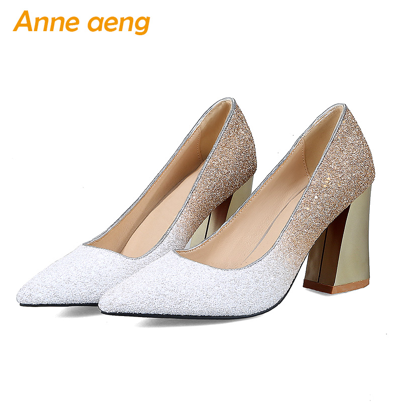 High Thick Heels Wedding Shoes Pointed toe Pumps Woman Crystal Mary Bride shoes shallow evening Party Bling Women shoes Big Size luxury shoes women sliver wedding shoes pumps pointed toe gold party extreme high heels bling silver evening ladies shoes 8 6005