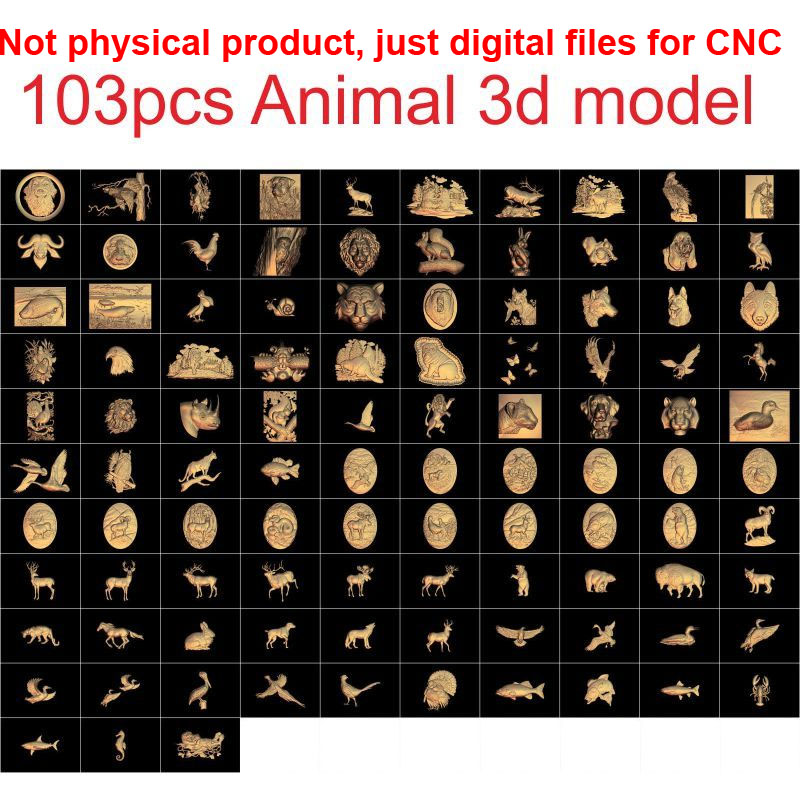 цена на 103 pieces Animal 3d model STL relief for cnc carving relief artcam vectric aspire