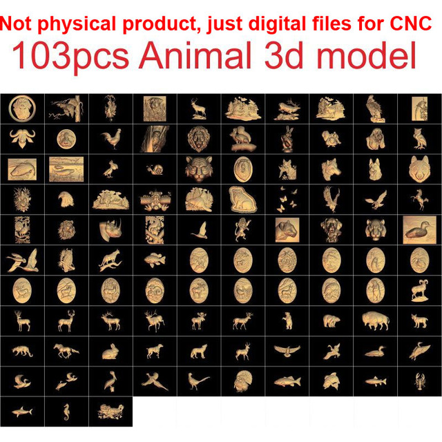 US $12 0 |103 pieces Animal 3d model STL relief for cnc carving relief  artcam vectric aspire-in Woodworking Machinery Parts from Tools on
