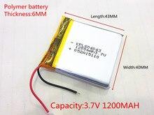 3 7V 1200mAH 604043 PLIB polymer lithium ion battery Li ion battery for tablet pc GPS