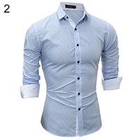 Fashion Casual Light Blue Lapel Shirt Button Down Plaid Long Sleeve Slim Fit Top Men Gift