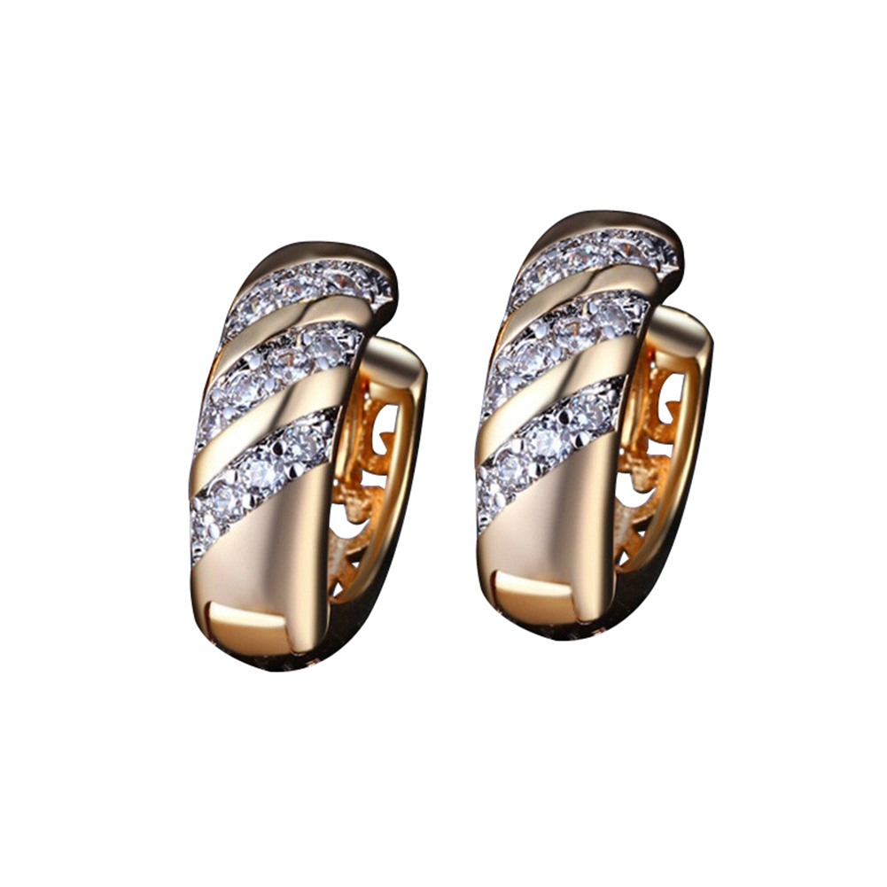 Vintage CZ Jewelry Cubic Zirconia Wedding Party Hoop Huggie Earrings for Women image