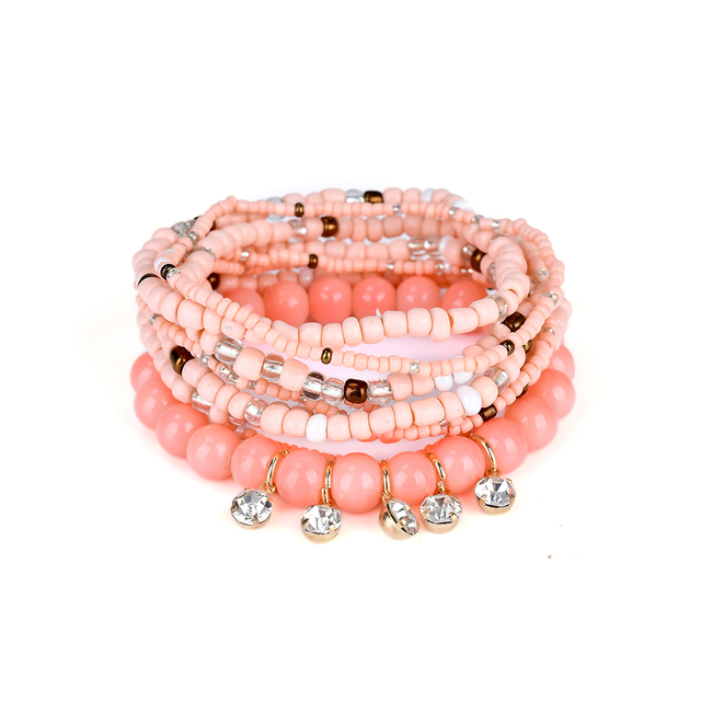 Lureme Bohemian Jewelry Beads Crystal Charms Multi Strand Textured Stackable Bracelets Bangles For Women