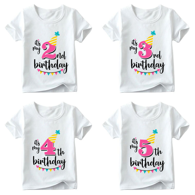 Girls Happy Birthday Number 1-7 Print T shirt Baby Summer White T-shirt Kids Birthday Present Number Print Clothes,HKP2432 striped print ringer t shirt